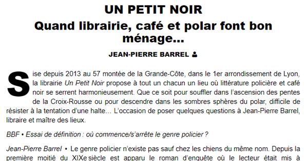 Capture d'un article de BBF sur Un Petit Noir